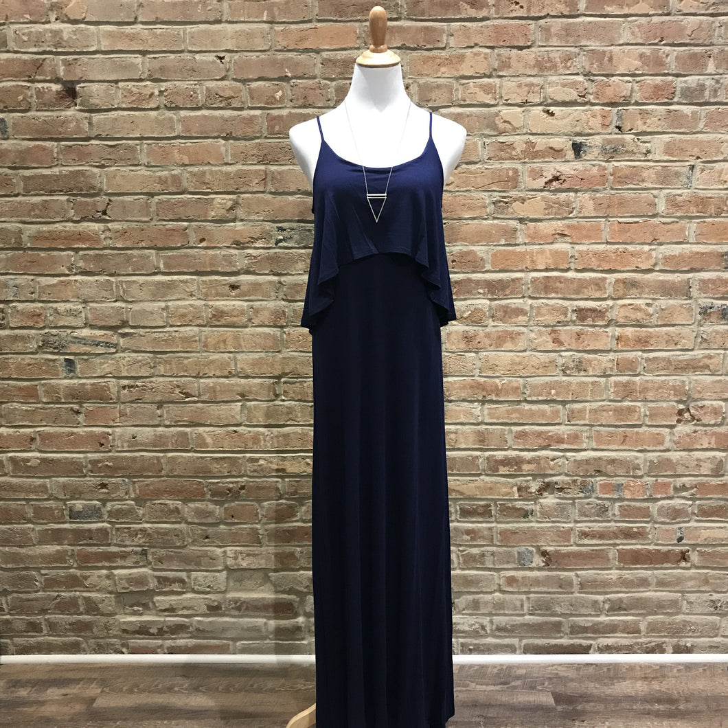 Solid Navy Maxi Dress