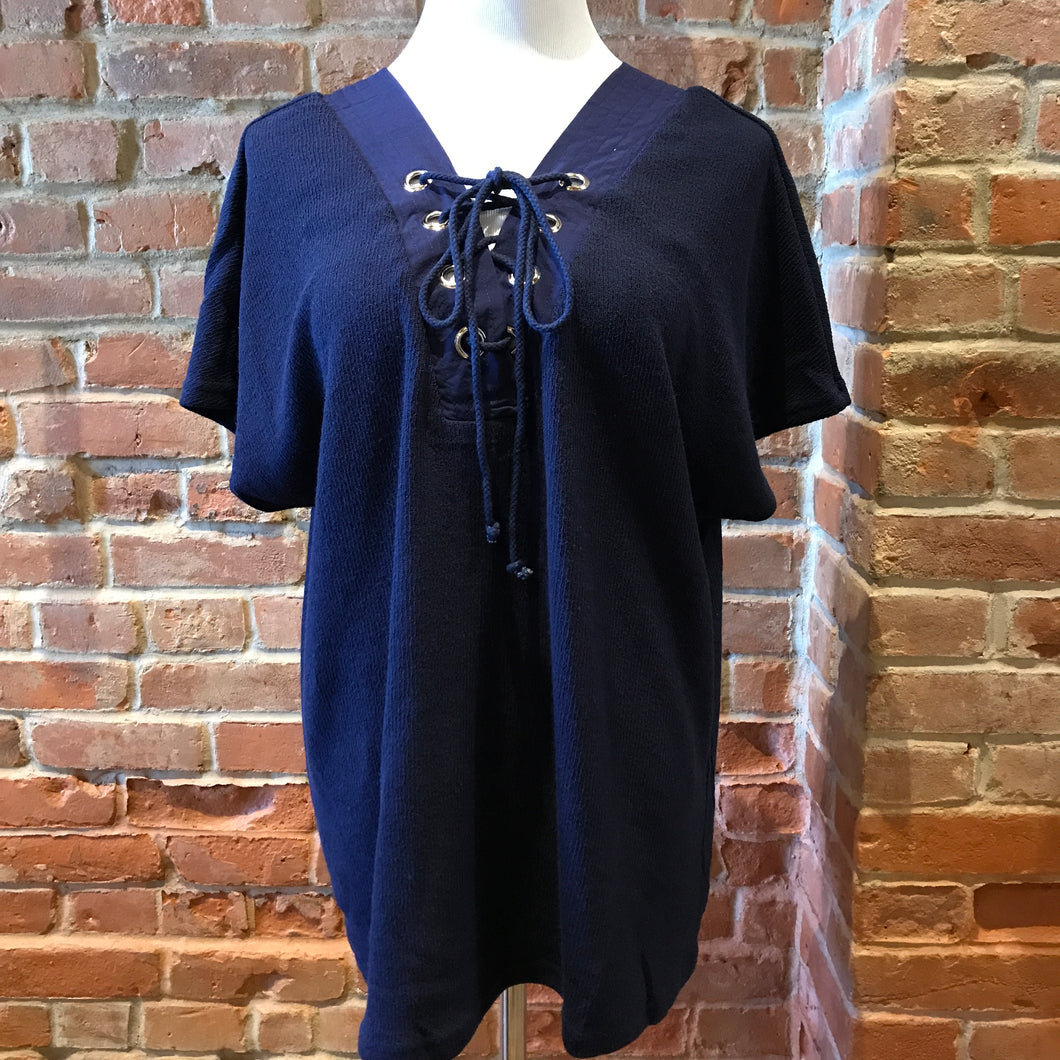 V-Neck Top With Lace-Up Front