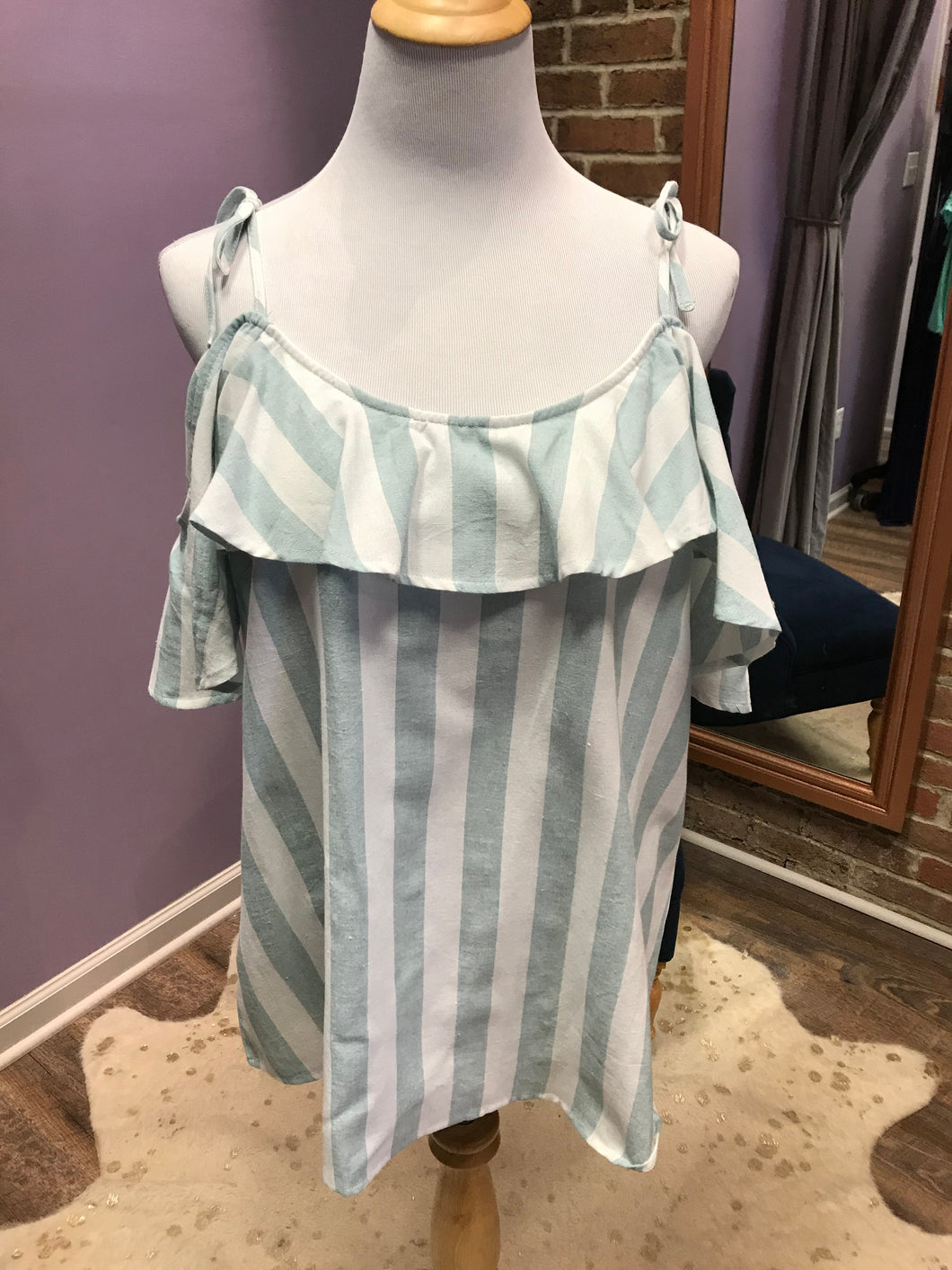 Striped Cold Shoulder Top With Shoulder Ties