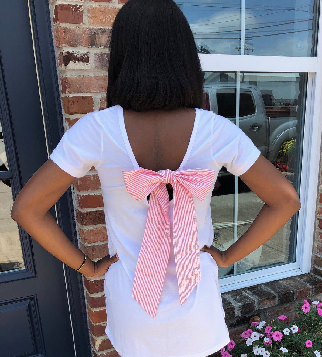Ladies Seersucker Bow Tie Tee Pink