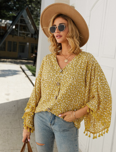V-Neck Polka Dot Print Blouse