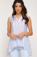Sleeveless Striped Woven Top