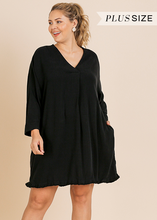 V-Neck Dress w/ Frayed Hem