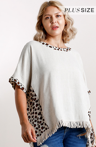 Animal Print Top w/ Fringe Hem