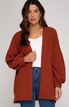 Long Balloon Sleeve Open Front Cardigan