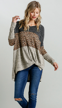 Color Blocked Animal Print Top w/ Front Knot