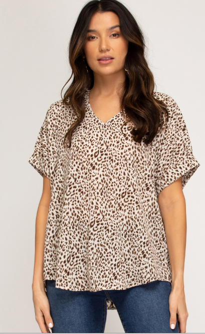 Animal Drop Shoulder V-Neck