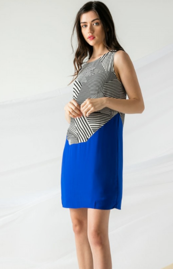 Striped Dress with Solid Bottom
