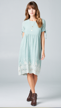 Sleeve Tie Border Dress