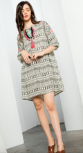 Printed Embroidered Dress w/ Trim