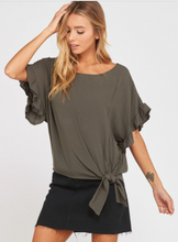 Ruffled Sleeve Front Tie Blouse