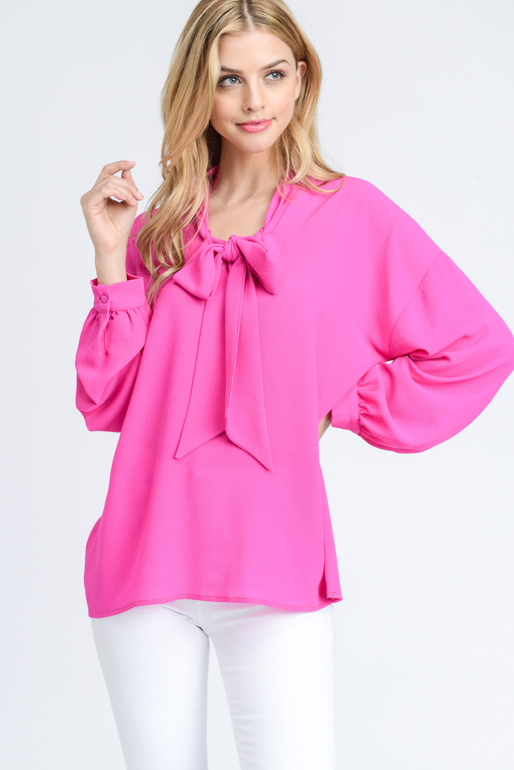 Self-Tie Woven Blouse