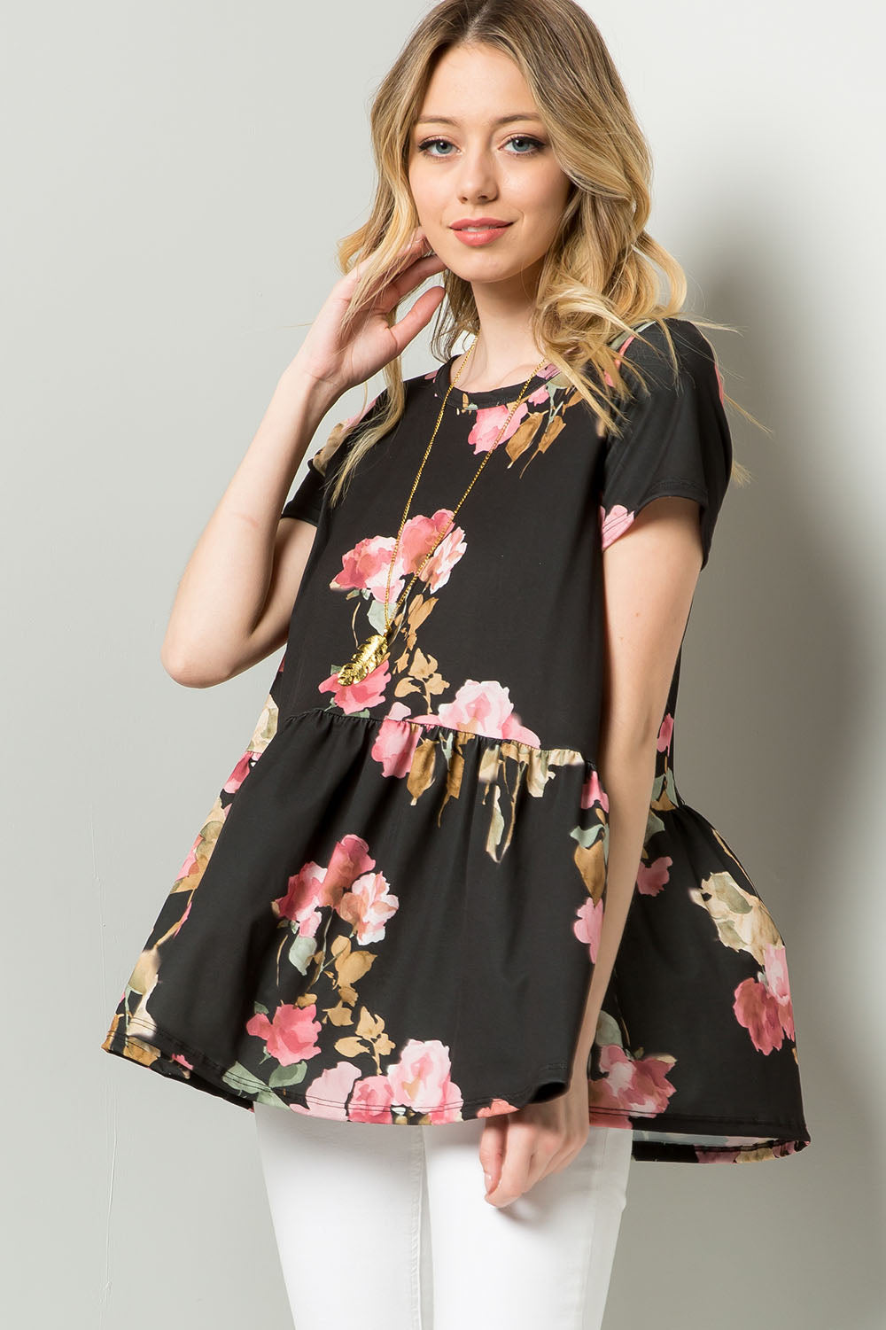 Floral Print Peplum Swing Top