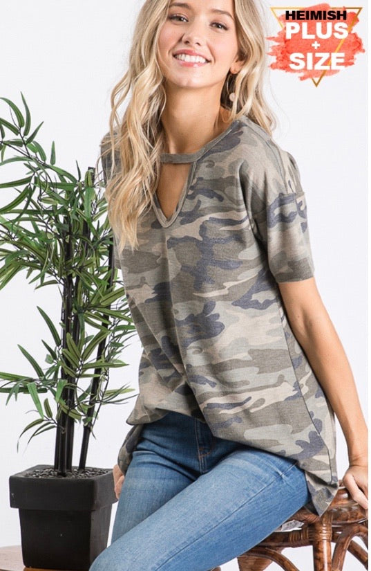 Camo Key Hole Shirt