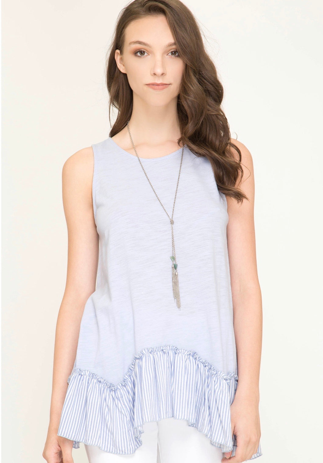 Sleeveless Knit Top w/ Ruffle Detail