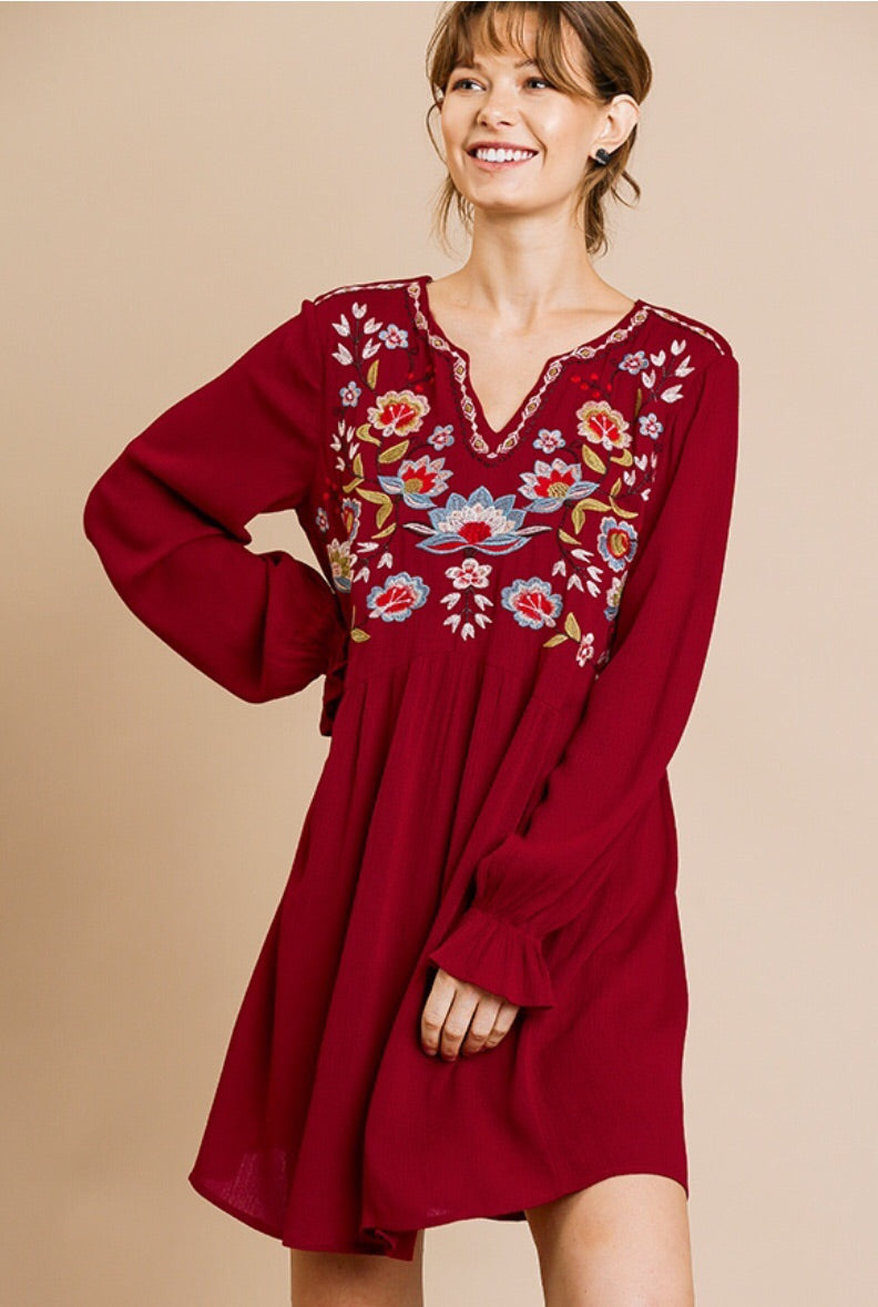 Ruffle Sleeve Floral Embroidered Dress