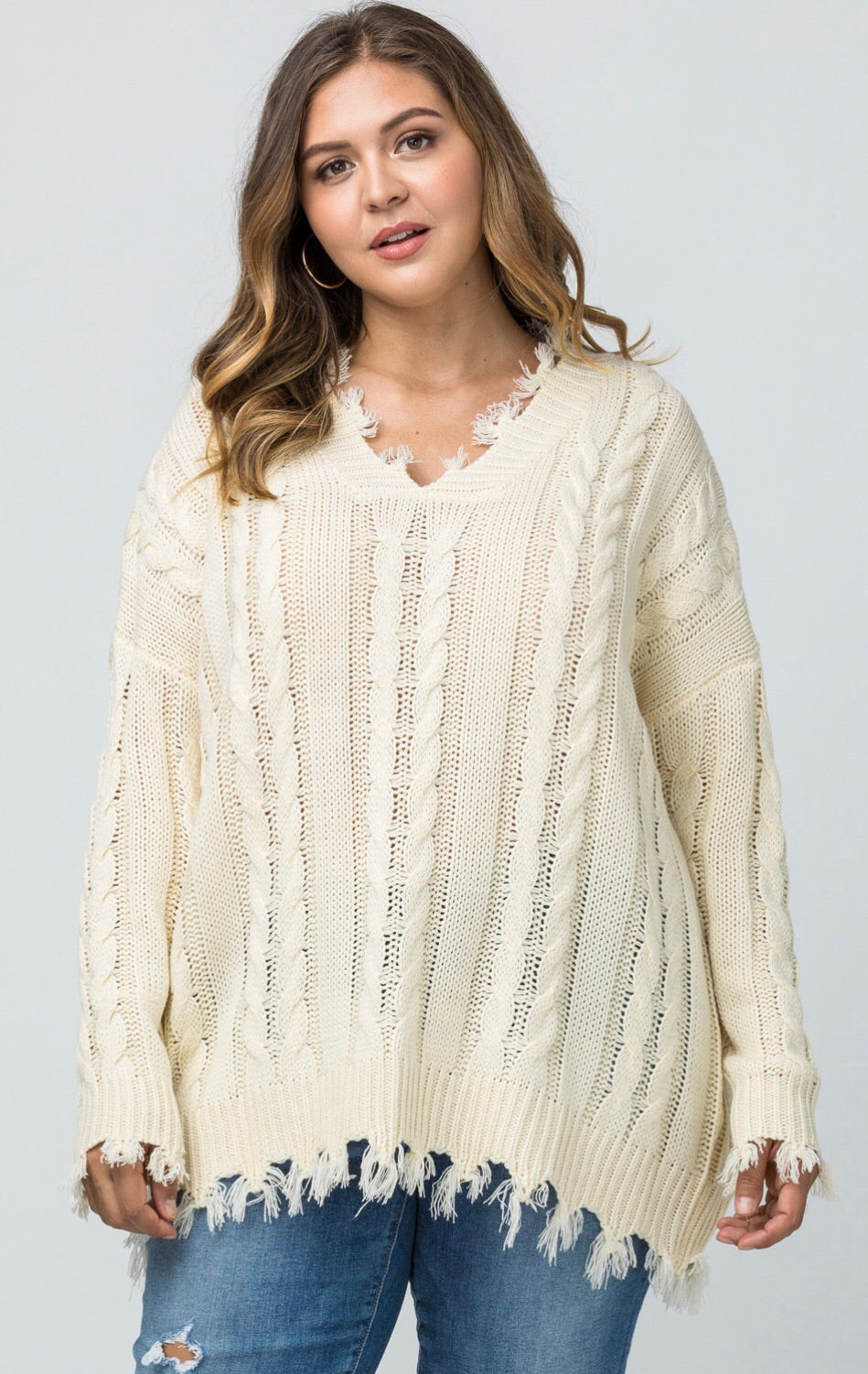 Frayed Knit Top