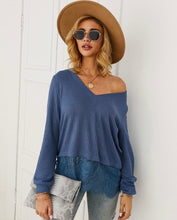 V-Neck Splice Lace Top