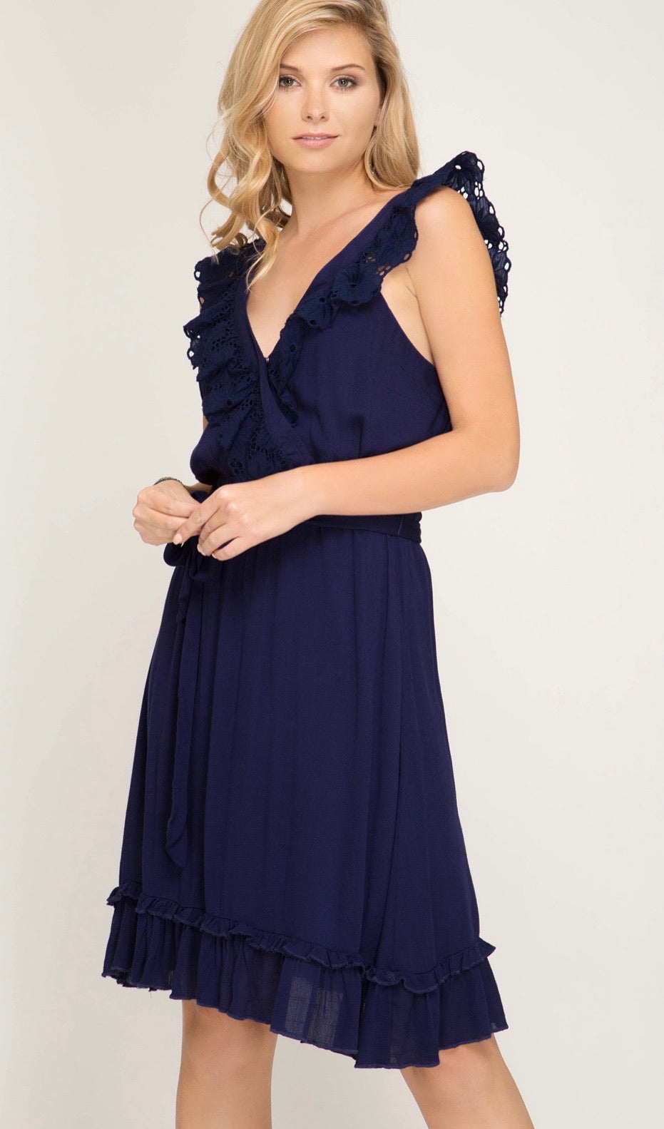Sleeveless Surplice Woven Dress