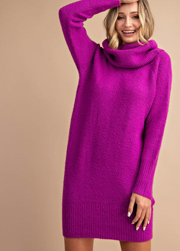 Fold Over-Off the Shoulder Sweater Dress