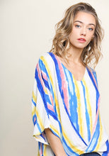 Striped Dolman Sleeve Top w/ Scoop Hem