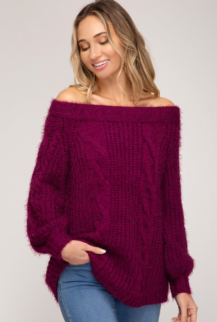 Off the Shoulder Cable Knit Sweater