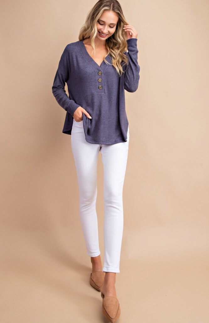 Button Front Long Sleeve Top