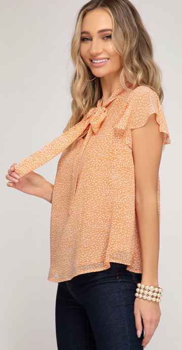 Ruffled Sleeve Woven Printed Top