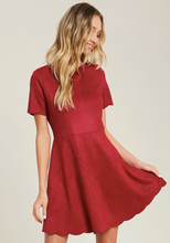 Solid Suede Baby Doll Dress