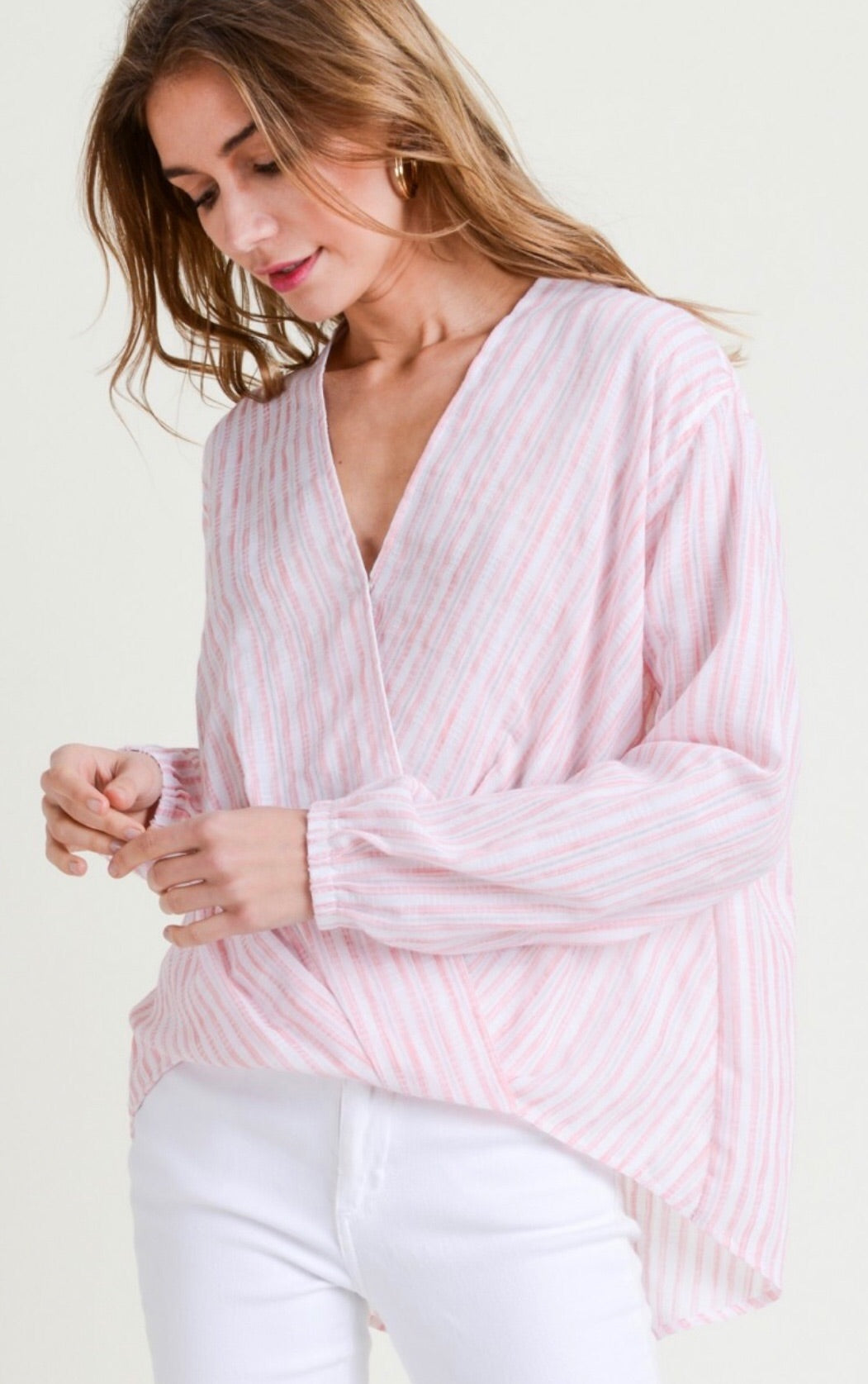 Cotton Striped Long Sleeve Top