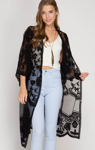 Lace Midi Duster Cardigan