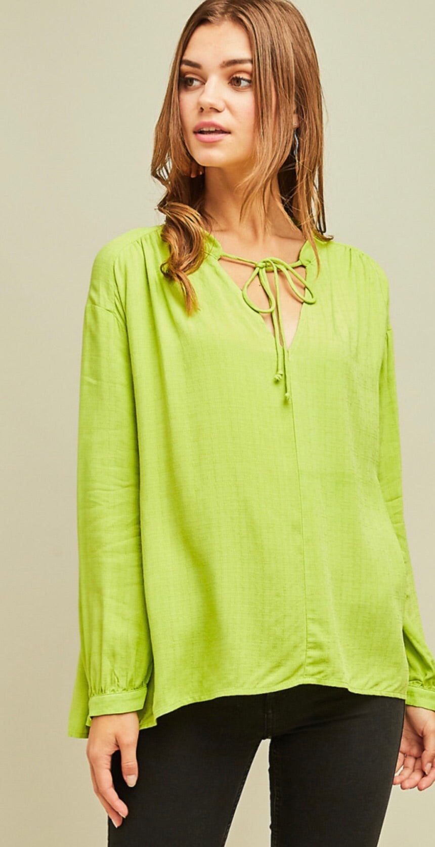 V-Neck Blouse w/ Self Tie
