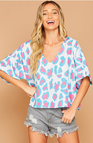 V-Neck Cheetah Blouse