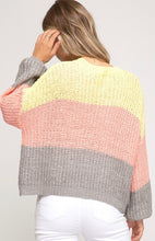 Bubble Sleeve Color Blocked Sweater