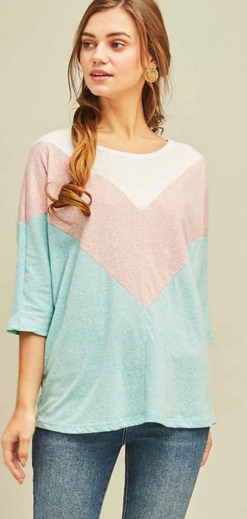 Chevron Scoop Neck Top