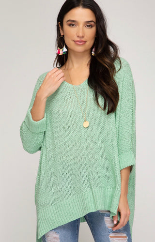 3/4 Sleeve Hi-Low Sweater
