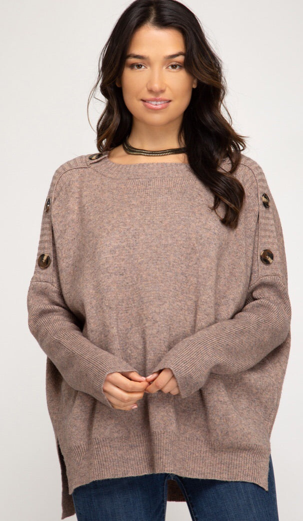Long Sleeve Sweater w/ Button Detail