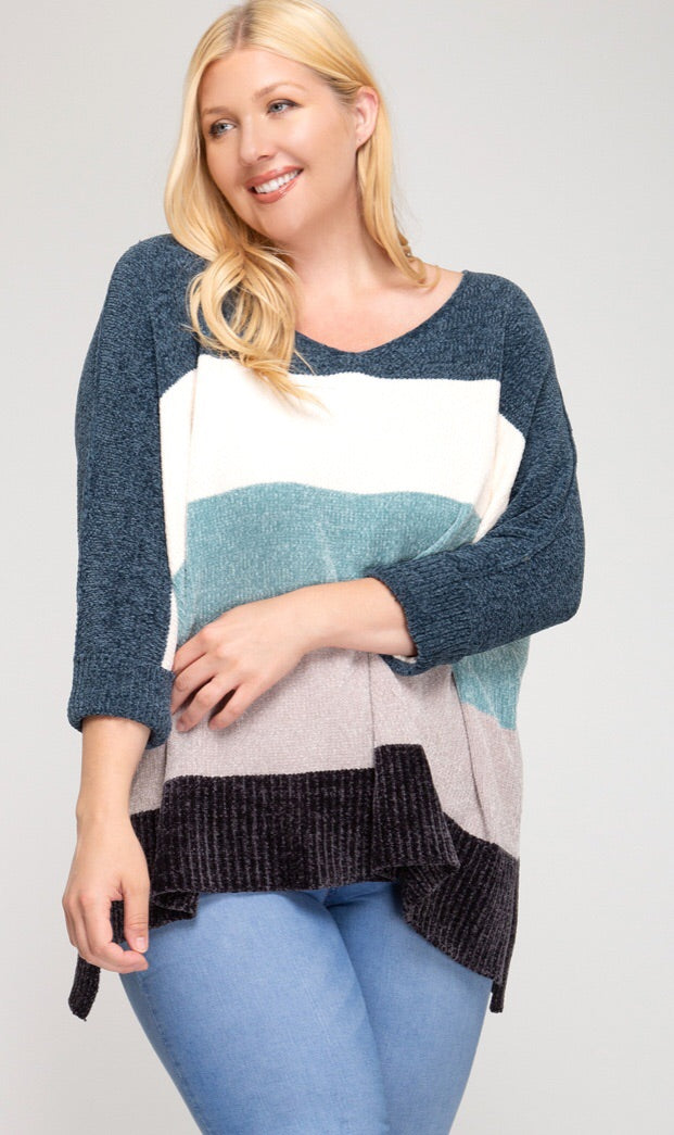 Color Blocked Chenille Sweater