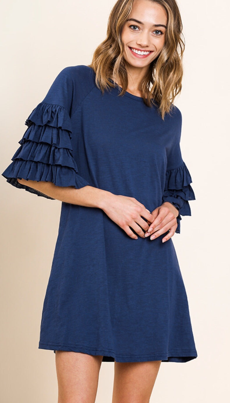 Layered Ruffle Sleeve Dress