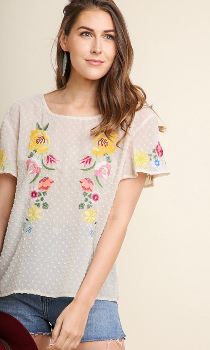 Polka Dot Sheer Top w/ Embroidery