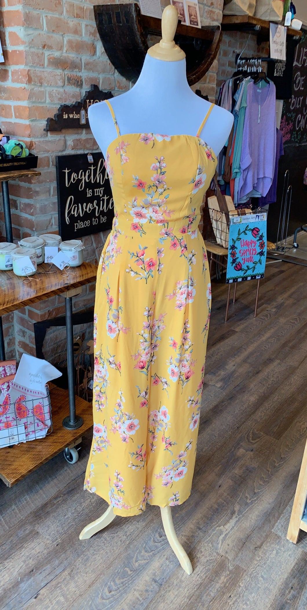 Midi Floral Jumpsuit w/ Pockets