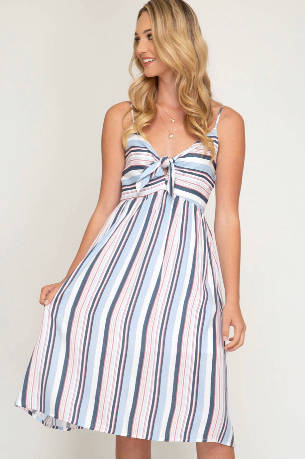 Multi Striped Woven Cami Dress