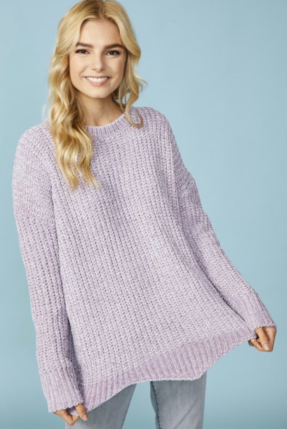 Chenille Sweater w/ Scallop Hem