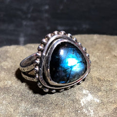 Deep Blue Labradorite Ring