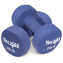 Yes4All 20 lbs Dumbbells Neoprene with Non Slip Grip – Great for Total Body Workout – Total Weight: 40 lbs (Set of 2)