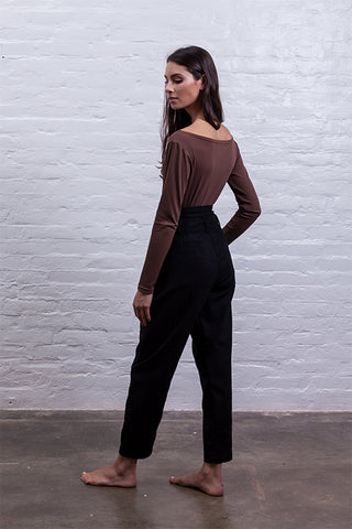 boatneck bodysuit brown mudha biodegradable sustainable back