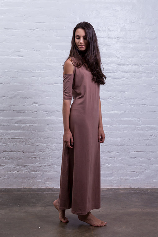 open shoulder dress brown cotton sustainable mudha side