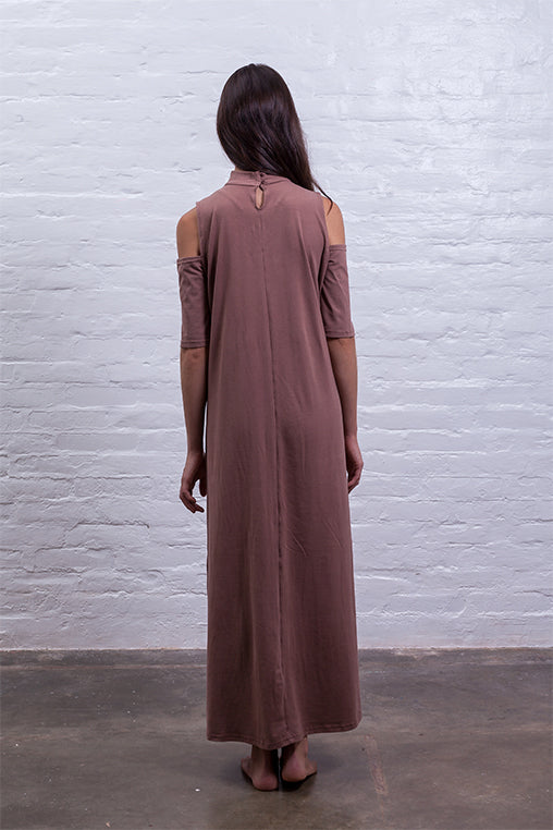 open shoulder dress brown cotton sustainable mudha back