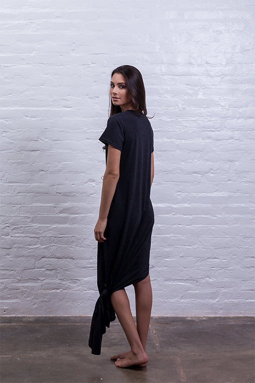 baggy dress mudha fauna black cotton comfy back