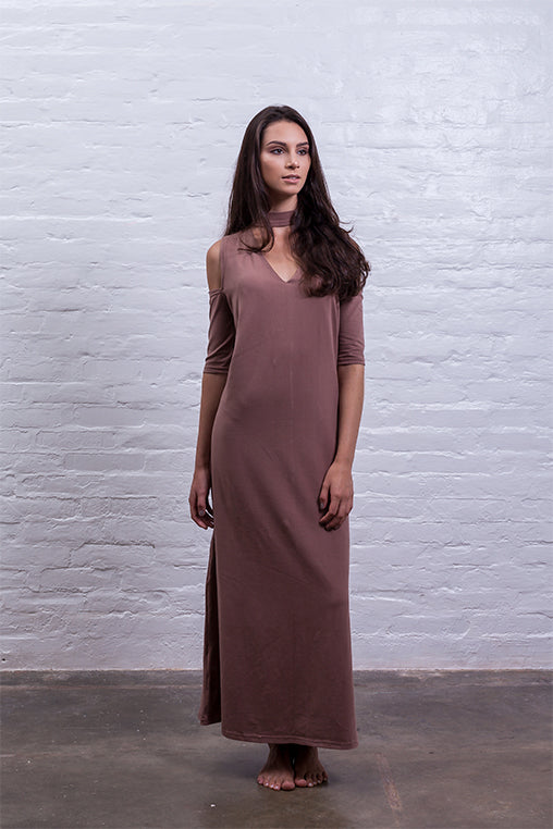 open shoulder dress brown cotton sustainable mudha